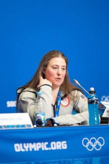 Stacey Cook of Truckee is shown at the U.S. Olympic Alpine Team press conference last week. Cook finished a disappointing 17th in the Olympic downhill, her best event.