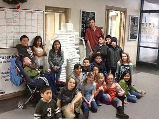 Incline Elementary School third-graders pose with Landfill Larry, their entry in the Discovery Museum's Styrobot Challenge. Students built the Styrofoam robot to bring awareness to unnecessary Styrofoam use in school lunchrooms.