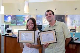 Molly Holiday and Eric Harssema were honored last week as co-winners of the 2012-13 Truckee Hometown SEARS-Sierra Sun Teacher of the Year award.