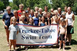 Members of the Truckee Tahoe Swim Team's Junior Olympic squad, including coaches Jenah Dawson and Betsy Redmond. The team recently competed in the 18 & Under Long Course Junior Olympics in Redding.