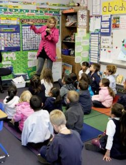 Kathy Muonio teachers her 24-student first grade class recently at Kings Beach Elementary. The school met the state's 800-point benchmark in 2013 for API.