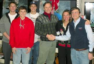 Family Retzlaff-Huggins, Sonya and Dave, Stein, Thor and Wolfe with Charles Riley.