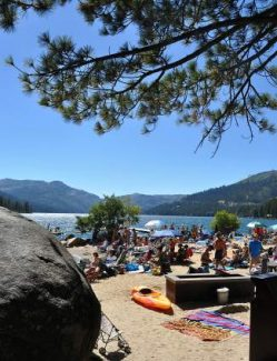 Each summer, people crowd the Beach Club Marina, a private amenity within the Tahoe Donner Association.
