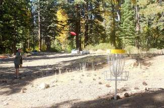 Incline resident Chuck Weinberger makes a putt at the North Tahoe Lions Club Disc Golf Course.