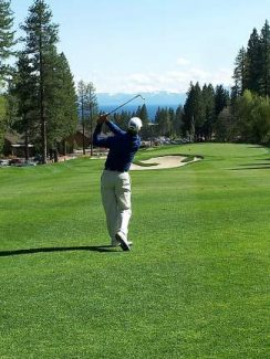 A golfer hits an approach shot at the Incline Village Championship Course.