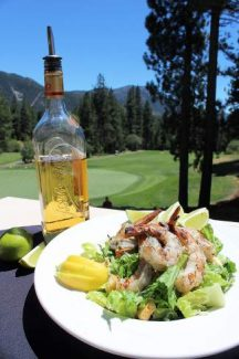 A look at the finished product, tequila lime marinated Mexican white shrimp on the Grille's Classic Cesar Salad.