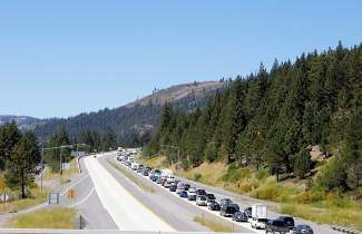 A view of I-80 west at the end of 2012's Labor Day weekend shows how heavily traveled local roadways are by visitors.