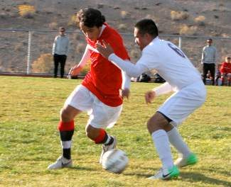 Rolando Zarate competes against Elko during the Wolverines' 2-0 win Friday. Truckee went on to defeat Spring Creek 4-1 the next day to improve to 5-0-1 in league.