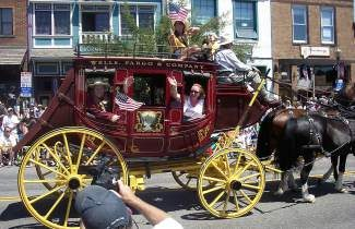 The Wells Fargo stagecoach is a time-honored tradtion at the July 4 Truckee Parade.