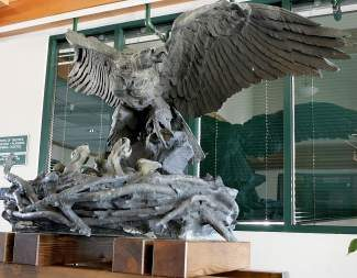 The Victory Highway Eagle Monument, honoring America's World War I veterans, is now on display in the Truckee Town Hall lobby.