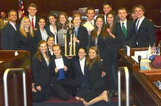 The 2013-14 class taught by Milt Hyams (seen here after taking first in the state competition at the Nevada State Legislative Building in Carson City) features Torii Baker, Marcella Collins, Maddie Findlen, Abigail Floam, Misha Gehring, Mariposa Gollery, Mia Harbaugh, James Larson, Caroline May, Jack Miller, Sophia Mourelatos, Elise Nelson, Sam Reber, Kenny Savelieff, Kerrie Tonking, Evan Vomund and Sarah Wright.