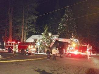 Several cres and engines responded to the fire Tuesday night in Tahoe Vista.