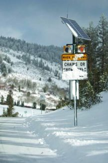 Snow can be abundant in the Tahoe area, as seen here on the Mt. Rose Highway during a previous winter.