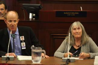 Bob Fulkerson, left, and Jane Gilbert speak of their concerns regarding the Tesla deal at the special session on Wednesday in Carson City.