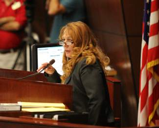 Assembly Speaker Marilyn Kirkpatrick, D-North Las Vegas speaks during the special session for Tesla onSept. 10, 2014, in Carson City.