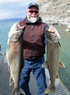 Captain Gene St. Denis landed these two mackinaws fishing Lake Tahoe on March 28. One was a 29-pounder, the other an 18-pounder.