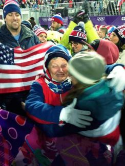 Maddie Bowman's grandmother, Lorna Perpall, and mother, Sue Bowman, embrace after Maddie won gold Thursday night in the women's Olympic halfpipe competition.