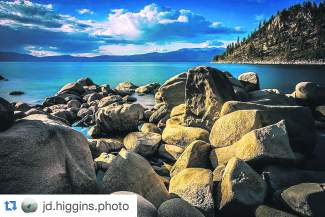 Sun-kissed rocks. Submitted using #TahoeSnaps on Instagram.