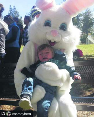 He likes the Easter bunny as much as Santa. Submitted using #TahoeSnaps.