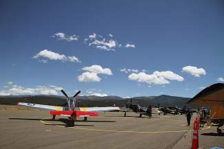 A row of airplanes lined the tarmac as the event began to get underway.