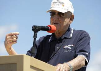 "World War II triple ace fighter pilot Col. Clarence ""Bud"" Anderson, the event's grand marshal, shared stories of his time in the cockpit."