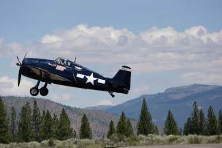 A Hellcat takes off at theTruckee Tahoe AirShow & Family Festival.