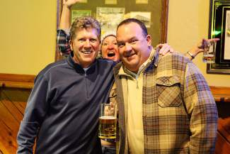 """Pete 'n Peters owner David """"Johnny B."""" Rutter, left, and Clint Bassett, PGA Director of Golf at Schaffer's Mill Golf Club, pose during the Bar Olympics on Tuesday in Tahoe City."""