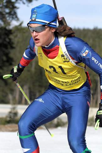 Auburn Ski Club athlete Sam Zabell competes in the U.S. Winter Biathlon National Championships Pursuit on Saturday.