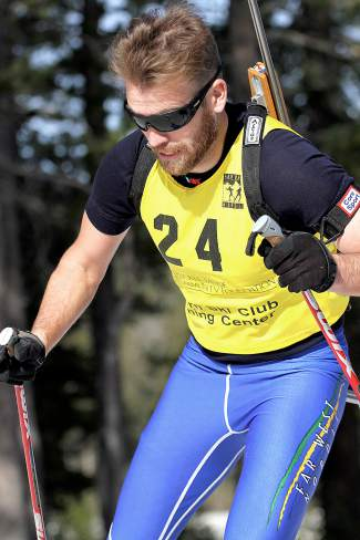 Phillip Violett competes in the U.S. Winter Biathlon National Championships on Saturday.