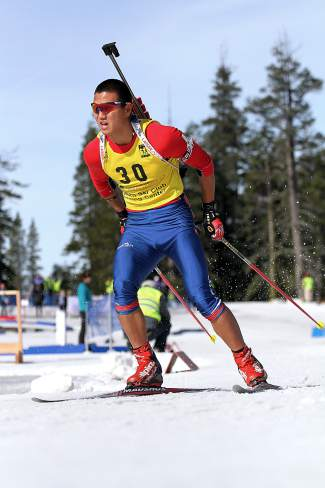 Peter Carroll races oni the U.S. Winter Biathlon National Championships at Auburn Ski Club on Saturday.