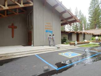 Lake Tahoe church vandalized with anti-Christian graffiti