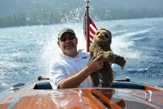 Fellow Woody Boater Dave Lyon and Sloth joined the Woody Boater crew on board MOUNTAIN LYON.
