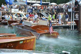"Leading the pack for the Roar Off was ""CHALLENGER,"" a 1926, 33-foot Gar Wood Baby Gar powered by a Liberty 500HP V-12."