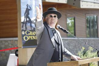 Don Schmidt, a retired and former supervising ranger at Donner Memorial State Park, served as emcee for Saturday's grand opening ceremony.