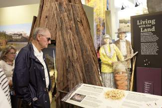 Bob Popp, of Lincoln, Calif., tours the $9.6 million, 9,400-square-foot Donner Memorial State Park Visitor Center at its grand opening Saturday.