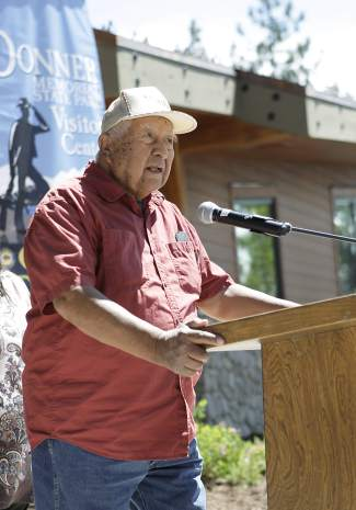 Washoe Tribe Elder Steven James says a blessing prayer.