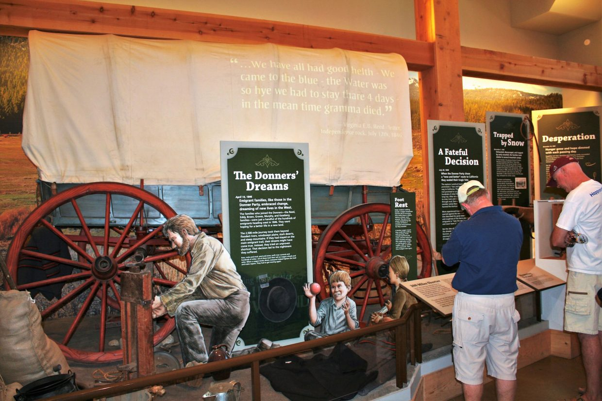 The Donner Memorial State Park Visitor Center includes an exhibit on the ill-fated Donner Party, which is largely considered the most famous tragedy in the history of the westward migration.