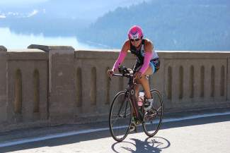 Jessica Koltz of Truckee crosses Rainbow Bridge en route to her third-place finish among women.