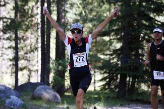 Shawna West of Truckee was feeling her oats near the end of the Olympic-distance Donner Lake Triathlon on Sunday.