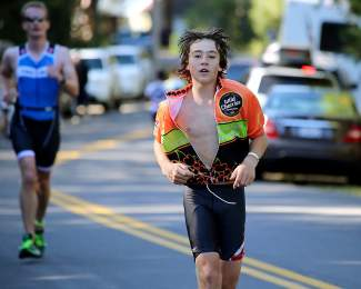 Truckee's Austin Bullock of the Wild Cherries Tri Team competes in the Sprint triathlon. He finished 37th.