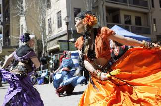 Reno-based Asha Dancers performed at Saturday's Tahoe Truckee Earth Day celebration at the Village at Squaw Valley.