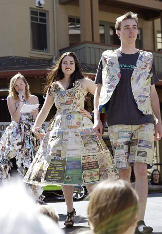 """During the annual """"Trashion Show,"""" local students showcased homemade outfits created from discarded materials."""
