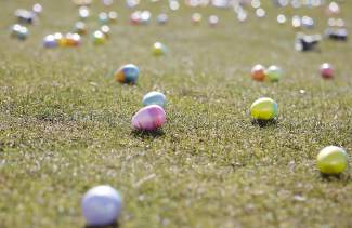 Commons Beach in Tahoe City was covered in thousands of plastic eggs Saturday morning for an Easter egg hunt.