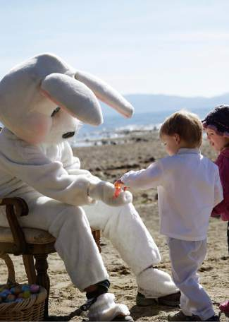 The Easter Bunny also made an appearance, handing out Easter eggs and sitting for photos with children.