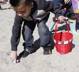 The eggs on Commons Beach were quickly picked up by children.
