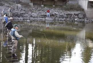 Anglers, many with Trout Unlimited, were catching fish Tuesday with rod and reel.