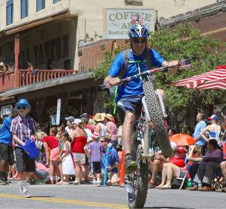 Representatives from Tahoe Donner rode fat bikes through downtown as part of the parade.