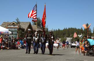 The color guard leads off the Fourth of July parade in Truckee.