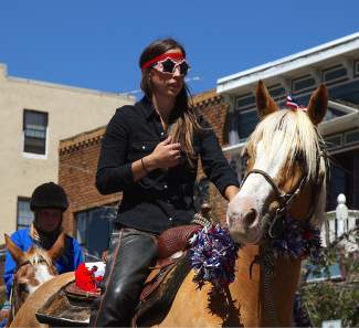 Many patriotic horse riders took part in the Truckee Hometown Parade.