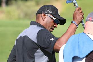 Soon-to-be Hall of Fame receiver Tim Brown is a regular at the annual Gene Upshaw Memorial Golf Classic.